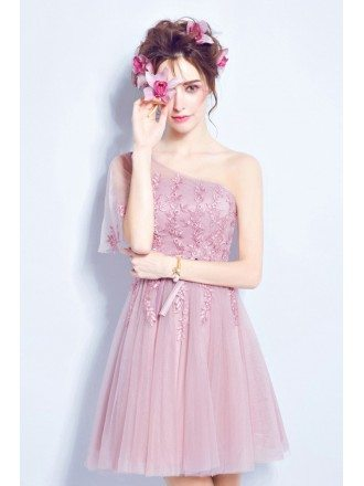 Lilac Tulle Lace Cocktail Prom Dress For Juniors Homecoming