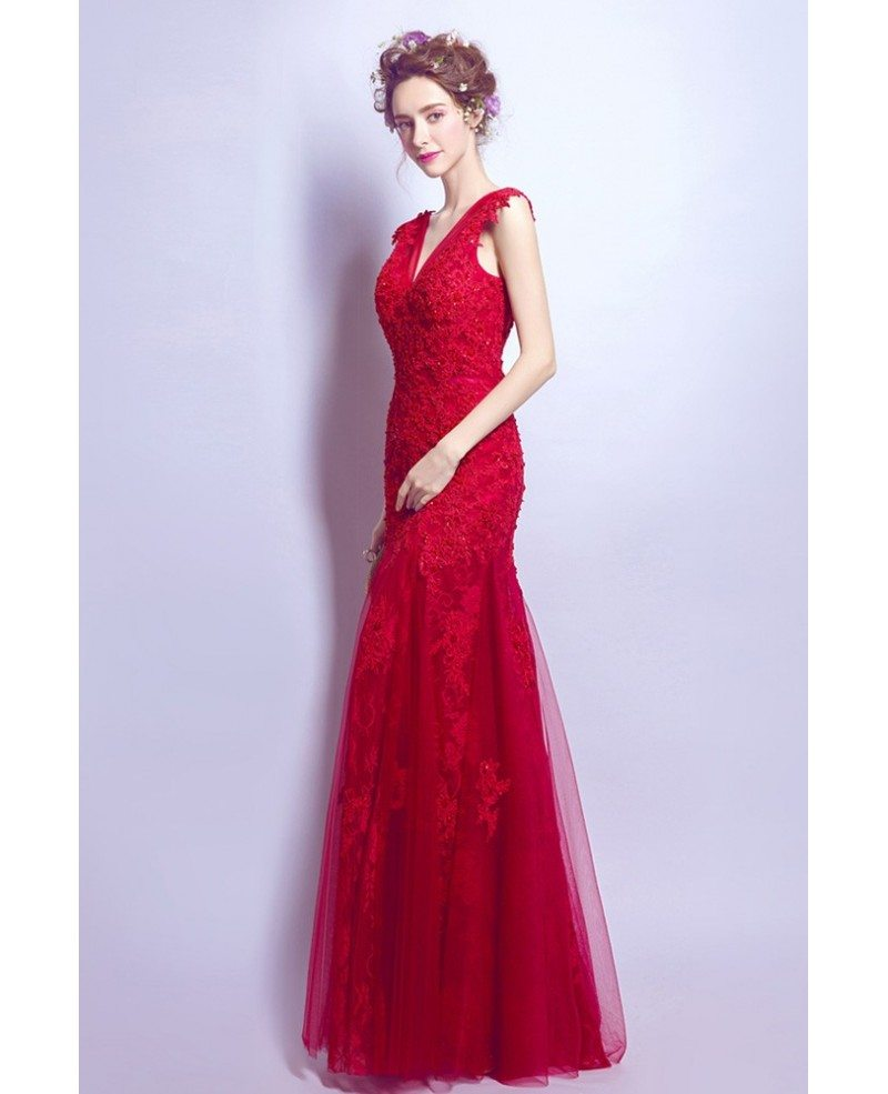 Fit And Flare V Neck Prom Dress Long In Red Lace With
