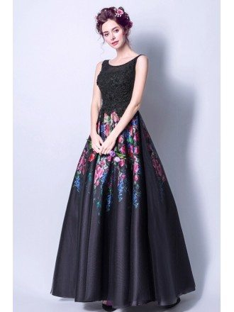 Black Long Scoop Neck Formal Dress With Printed Color Florals