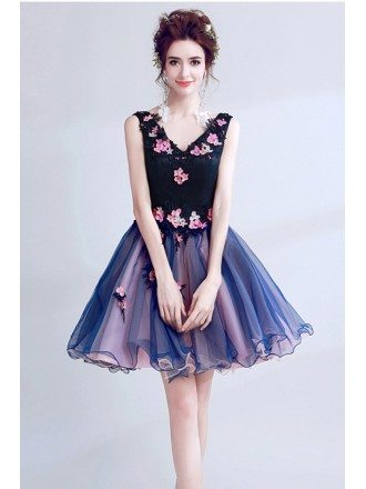 V-neck Short Dark Navy Blue Homecoming Dress With Pink Beaded Florals