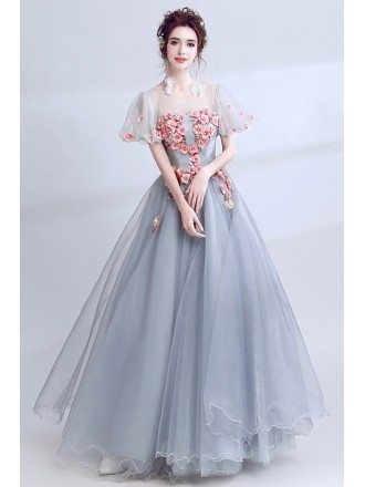 Grey With Pink Floral Long Homecoming Dress With Short Puffy Sleeves