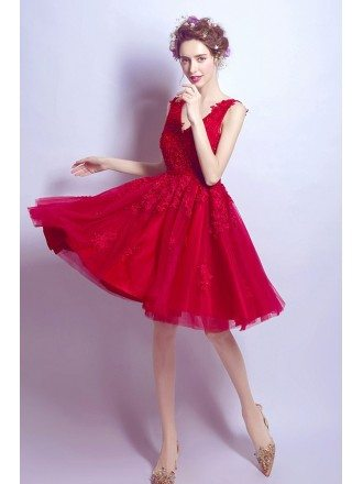 Short V-neck Red Homecoming Dress With Lace Beading Straps