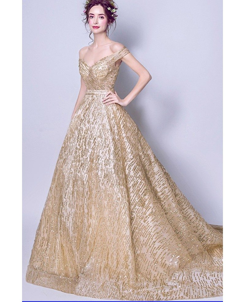 Gold Ball Gown Prom Dress