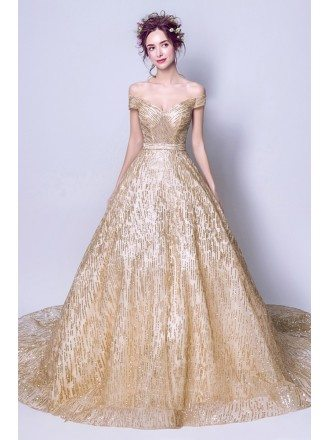 Sparkly Sequined Gold Ball Gown Prom Dress With Off Shoulder Straps