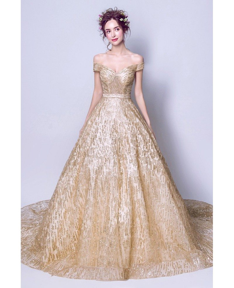 Sparkly Sequined Gold Ball Gown Prom Dress With Off Shoulder Straps ...