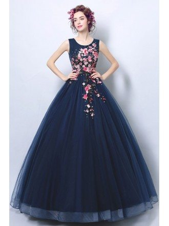 Dark Navy Blue Ballroom Formal Gown Dress With Applique Florals