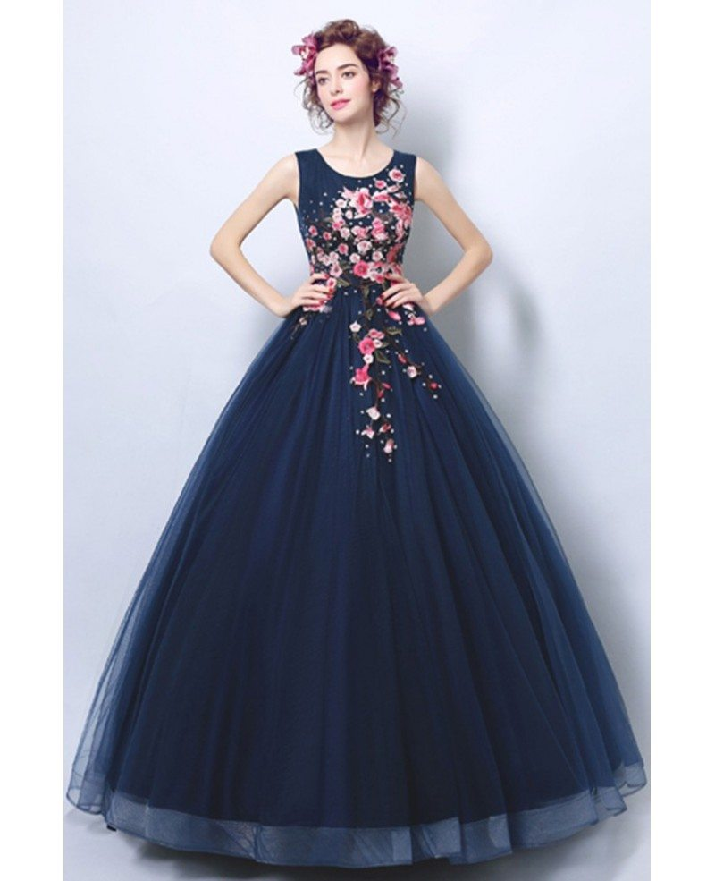 Dark Navy Blue Ballroom Formal Gown Dress With Applique Florals ...