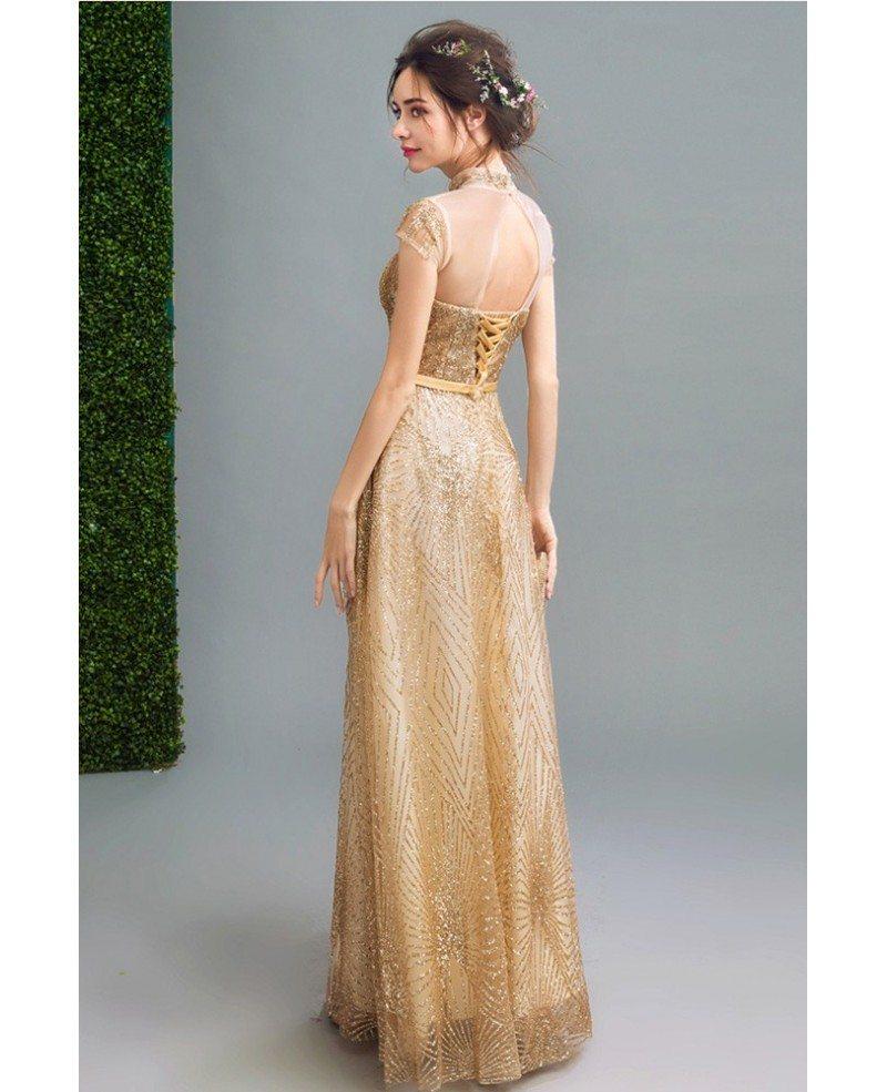 Bling-bling Modest Gold Prom Formal Dress Long For Women #AGP18132 ...