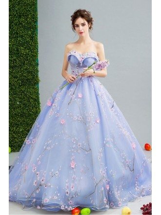 Gorgeous Light Blue Formal Bridal Dress With Florals Train