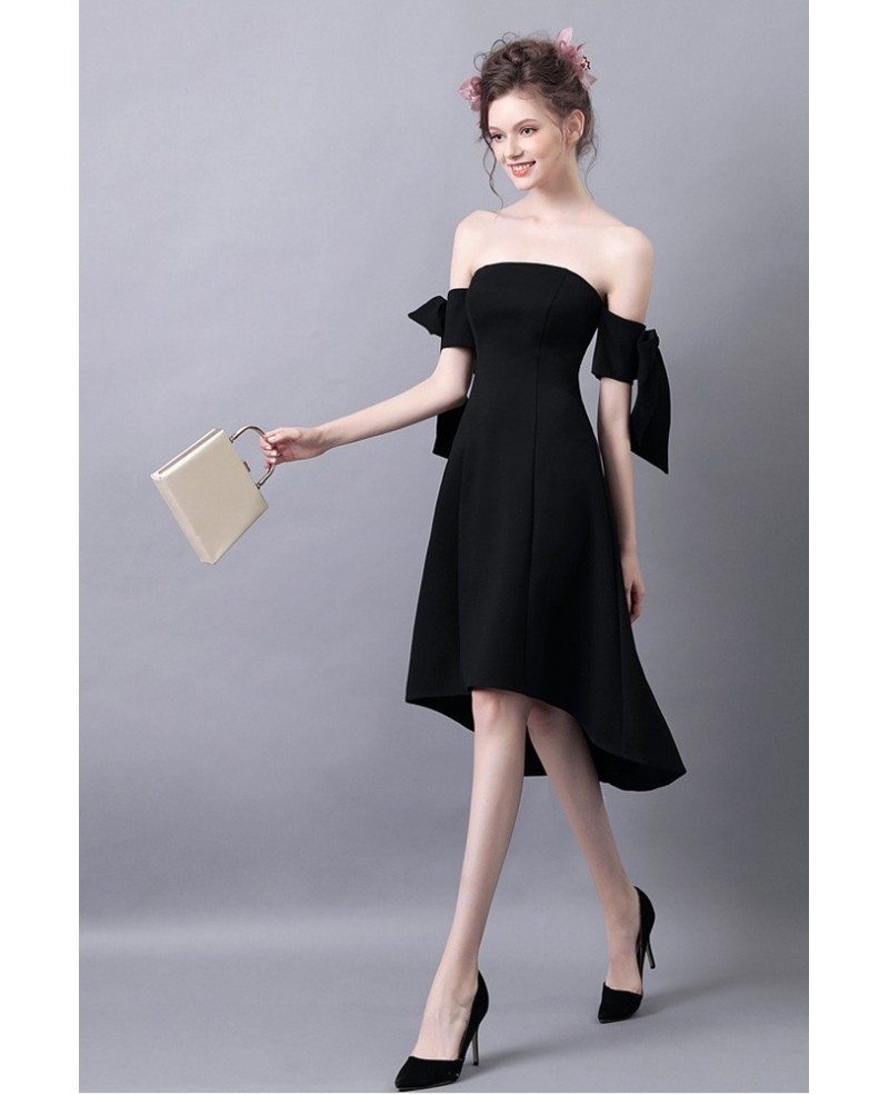 High Low Slim Black Prom Dress With Off The Shoulder Straps ...