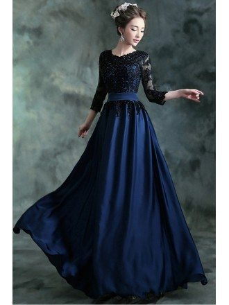 Navy Blue Long Formal Evening Dress With 3/4 Lace Beaded Sleeves