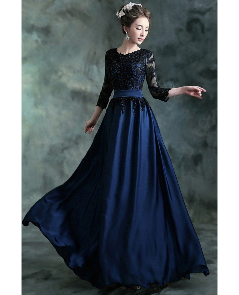 Navy Blue Long Formal Evening Dress With 3/4 Lace Beaded Sleeves ...