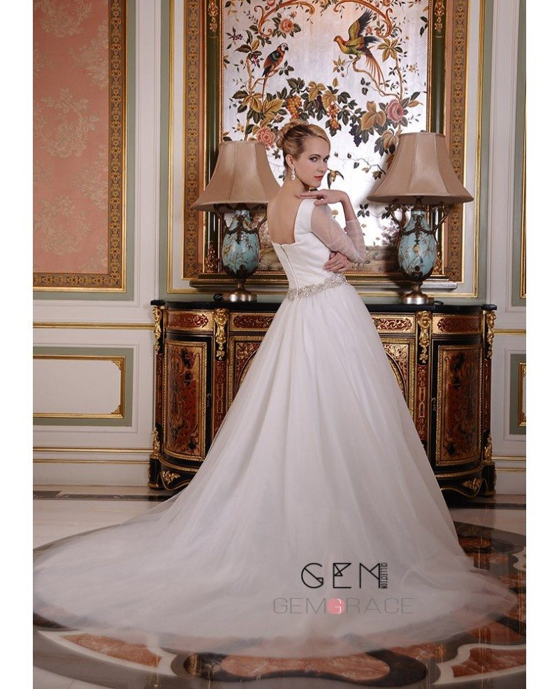 Ball gown square neckline chapel train organza wedding for Wedding dresses chapel train