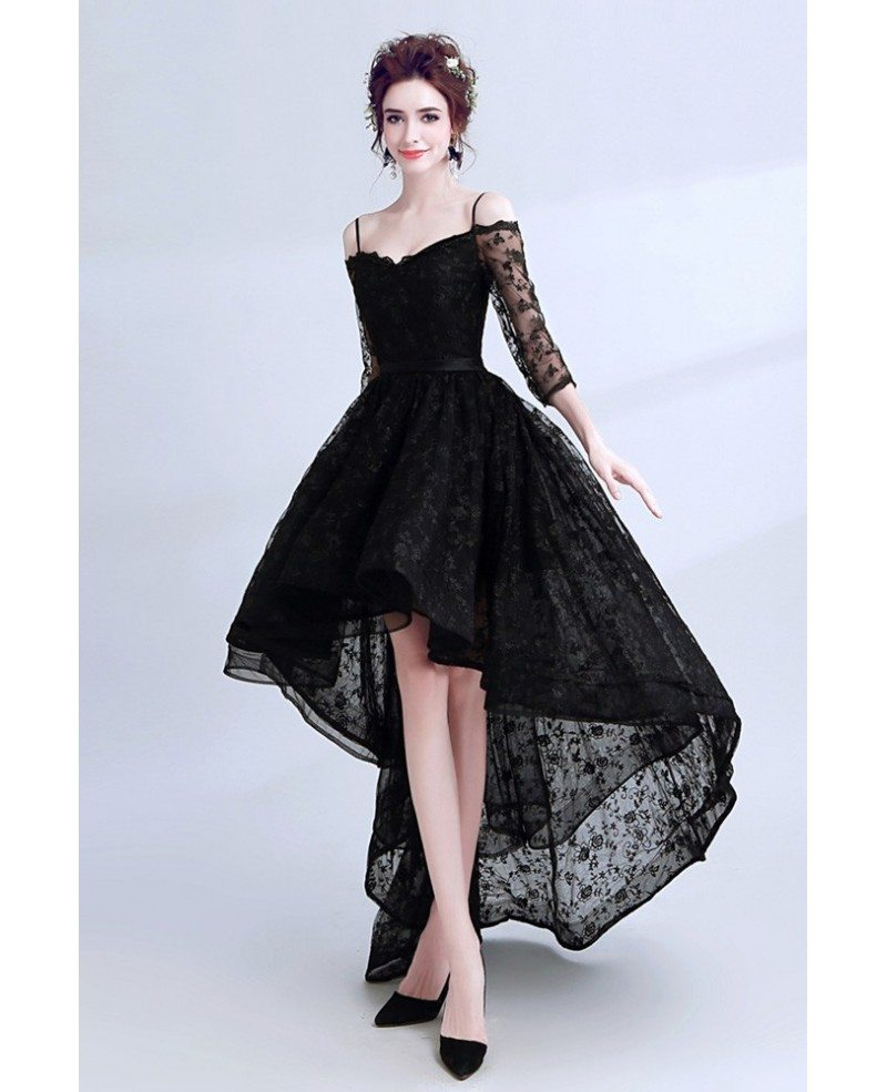 High Low Black Lace Prom Dress Sleeved With Spaghetti Straps ...