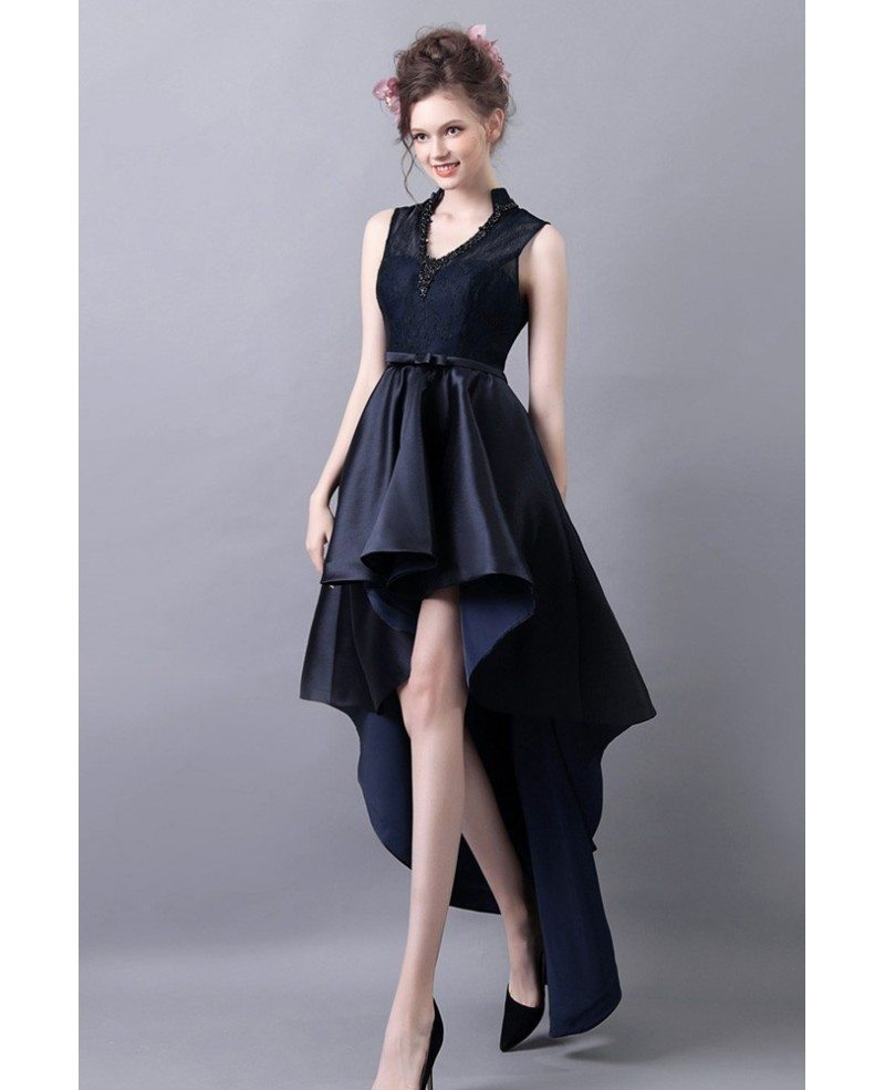 High Low V-neck Formal Prom Dress With Lace Beading Dark Navy Blue ...