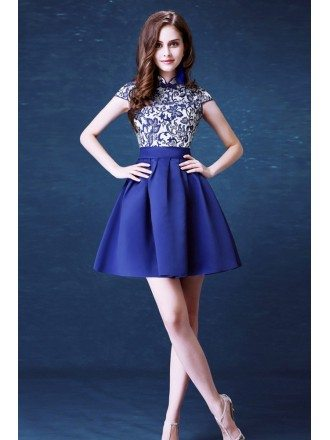 Modest Cocktail Embroidery Homecoming Dress Blue For Juniors