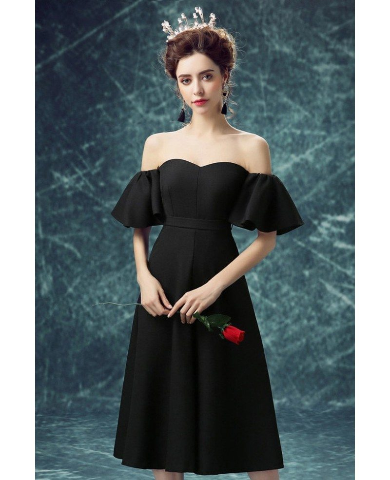 Simple Black Tea Length Party Dress With Off Shoulder