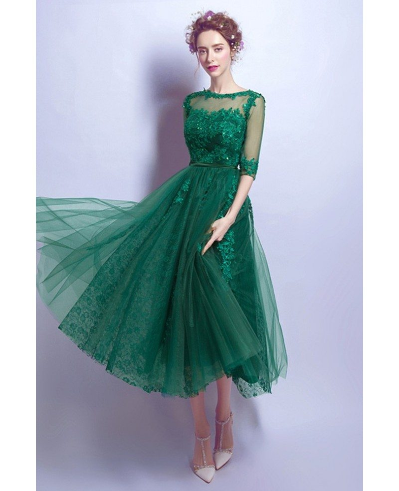 Tea Length Green Lace Prom Dress For Juniors With 1 2