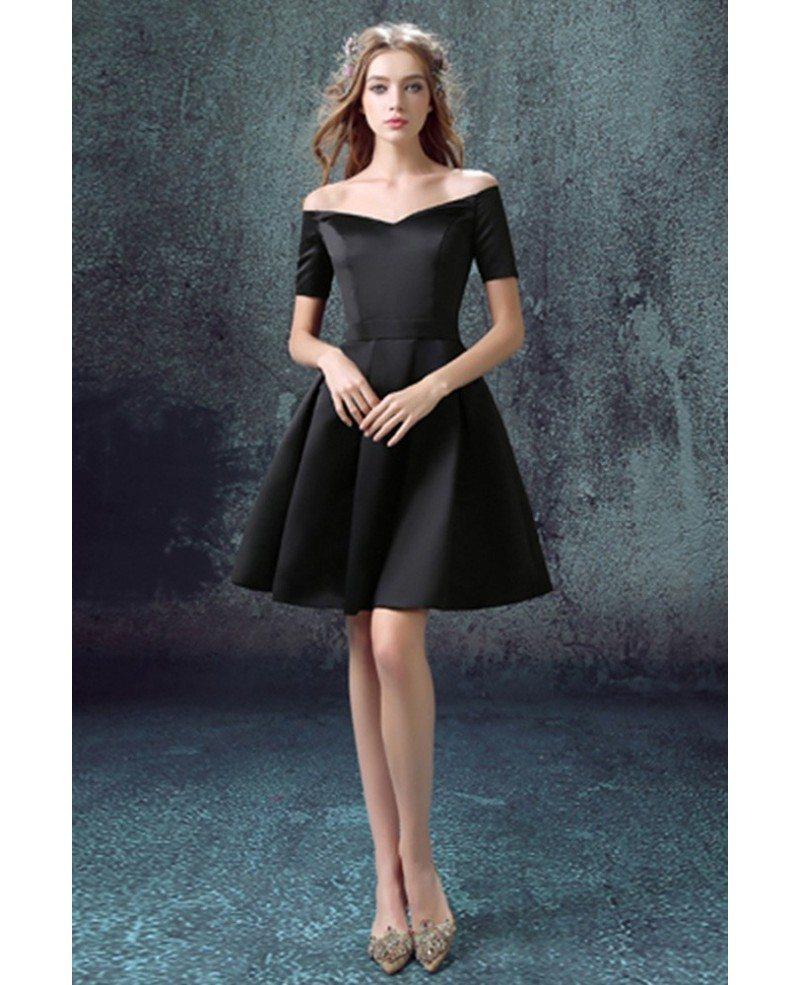 Little Black Cocktail Prom Dress With Off Shoulder Sleeves #AGP18370 ...