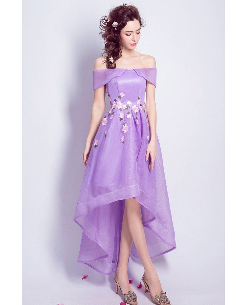 Purple High Low Prom Dress Off The Shoulder With Florals #AGP18419 ...