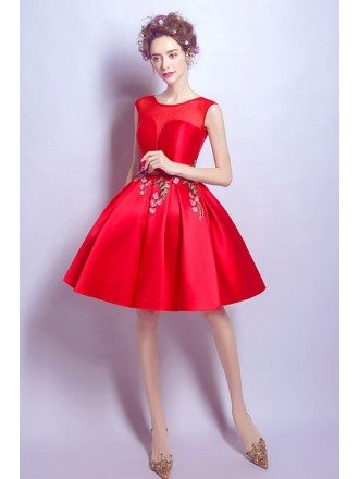 Hot Red Satin Prom Gown Short With Appliques