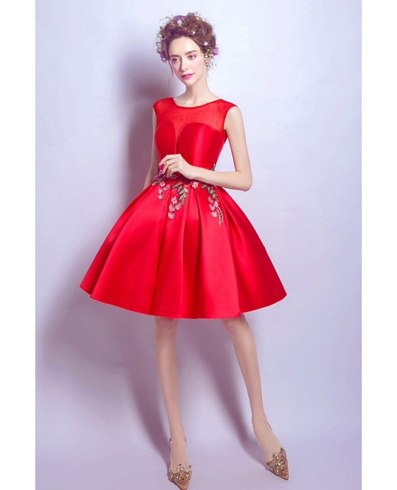 Hot Red Satin Prom Gown Short With Appliques #AGP18420 - GemGrace.com