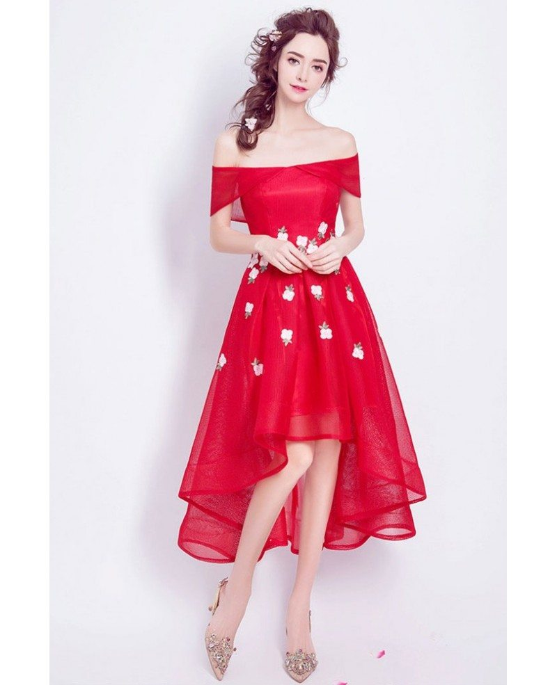 High Low Red Floral Prom Dress With Off The Shoulder ...Red High Low Prom Dresses 2013