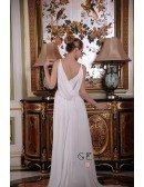 A-Line V-neck Sweep Train Satin Chiffon Wedding Dress With Beading Ruffle