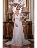 A-Line V-neck Sweep Train Satin Chiffon Wedding Dress With Beading Ruffle