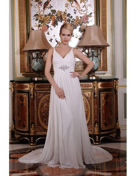 A Line V-Neck Chiffon Wedding Dress