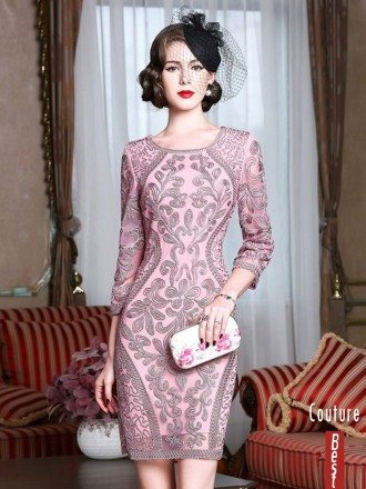 Classy Pink Embroidery Short Wedding Guest Dress 3/4 Sleeves Dress For Weddings