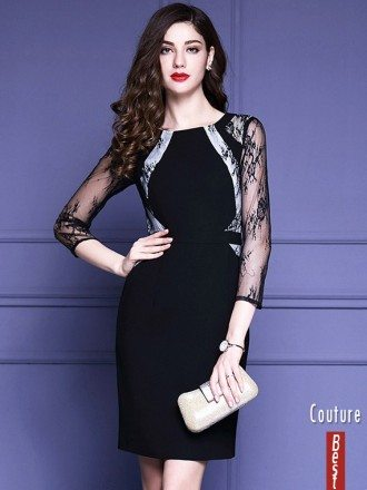Black Lace 3/4 Sleeves Cocktail Wedding Party Dress