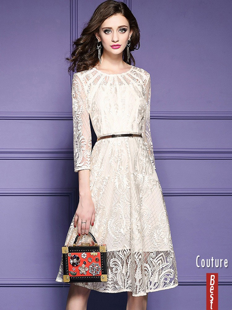 Elegant Beige Lace A Line Wedding Guest Dress With Sleeves #ZL8006 ...