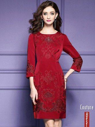 Burgundy Formal Embroidered Short Dress For Wedding Guest Over 40