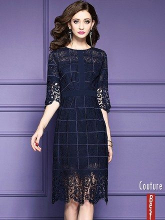 Navy Blue Lace Half Sleeve Short Dress For Weddings