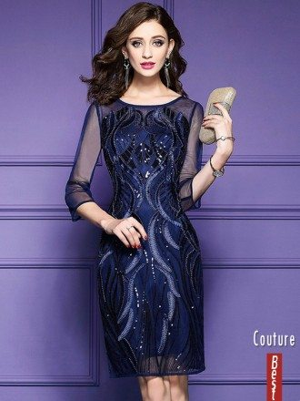 Classy Royal Blue Luxe Embroidered Cocktail Dress For Weddings Wedding Guests