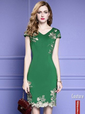 Green Bodycon Cocktail Dress For Wedding Guest With Cap Sleeves Embroidery