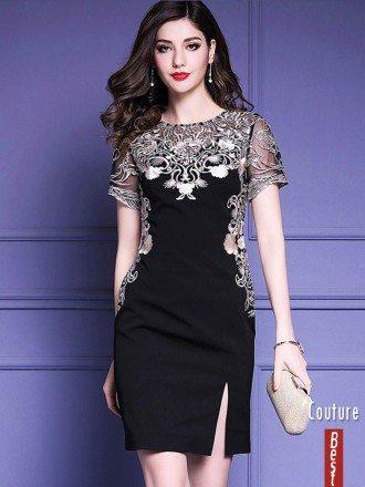 Little Black Embroidered Short Sleeve Dress For Formal Weddings