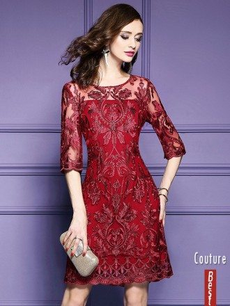 Elegant Burgundy Short Wedding Guest Dress For Over 40,50 With Half Sleeves