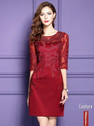 Burgundy Half Sleeve Short Dress For Women Over 40 For Weddings