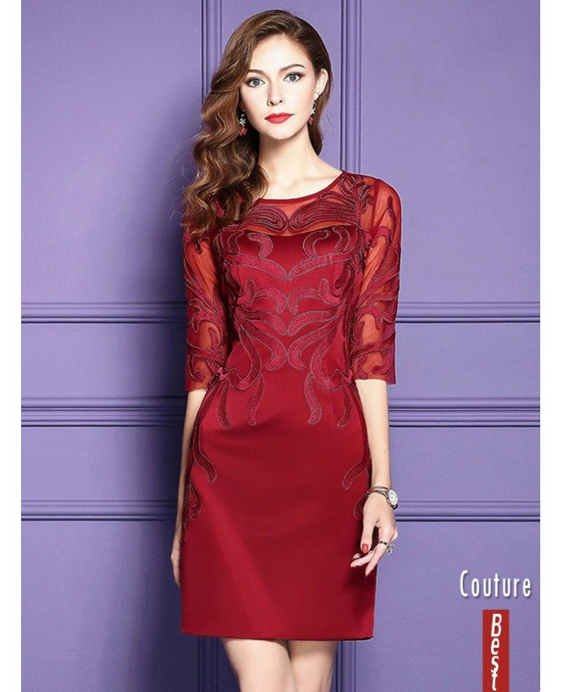 Burgundy Half Sleeve Short Dress For Women Over 40 For