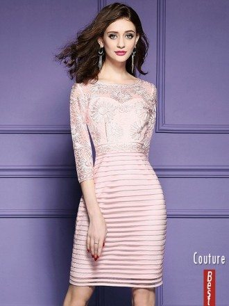 Pink Embroidered 3/4 Sleeve Party Dress For Wedding Guests Weddings