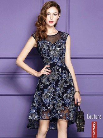 Chic High Low Blue Lace Wedding Guest Dress Beach Weddings With Embroidery