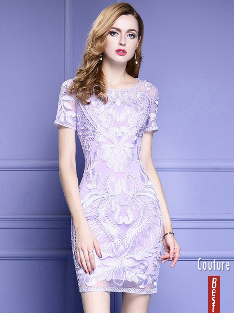 Light Purple Short Sleeve Bodycon Cocktail Dress For Wedding With ...