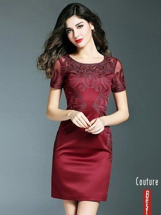 Simple Burgundy Cocktail Wedding Party Dress With Sleeves Embroidery For Weddings