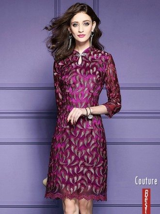 Retro High Neck Qipao Style Dress For Wedding Guest Over 40,50 With Embroidered Sleeves