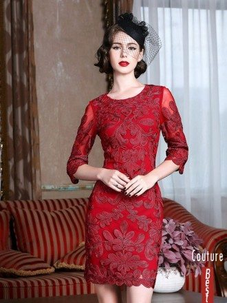 Classy Burgundy Cocktail Dress For Weddings Women Over 40,50 With Sleeves