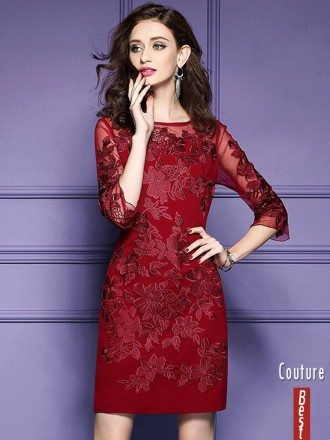 Burgundy Half Sleeve Petie Dress For Weddings With Embroidery