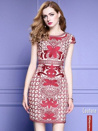 Unique Embroidery Pattern Bodycon Wedding Guest Dress With Cap Sleeves