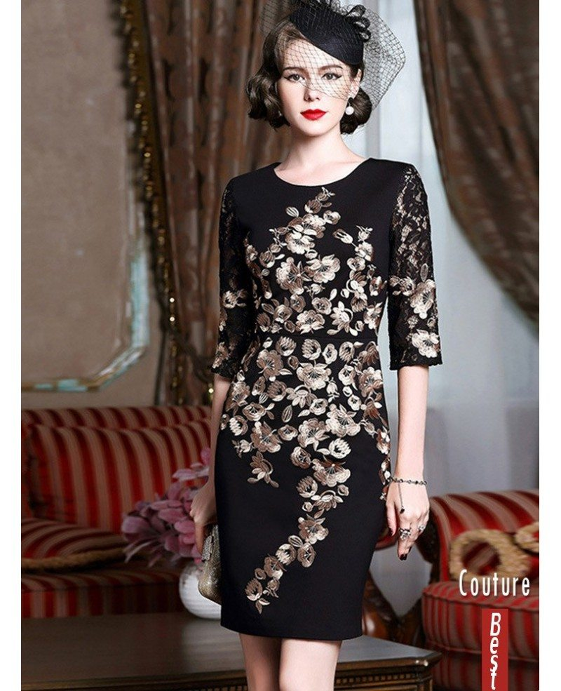 Black With Gold Classy Cocktail Dress For Women Over 40,50